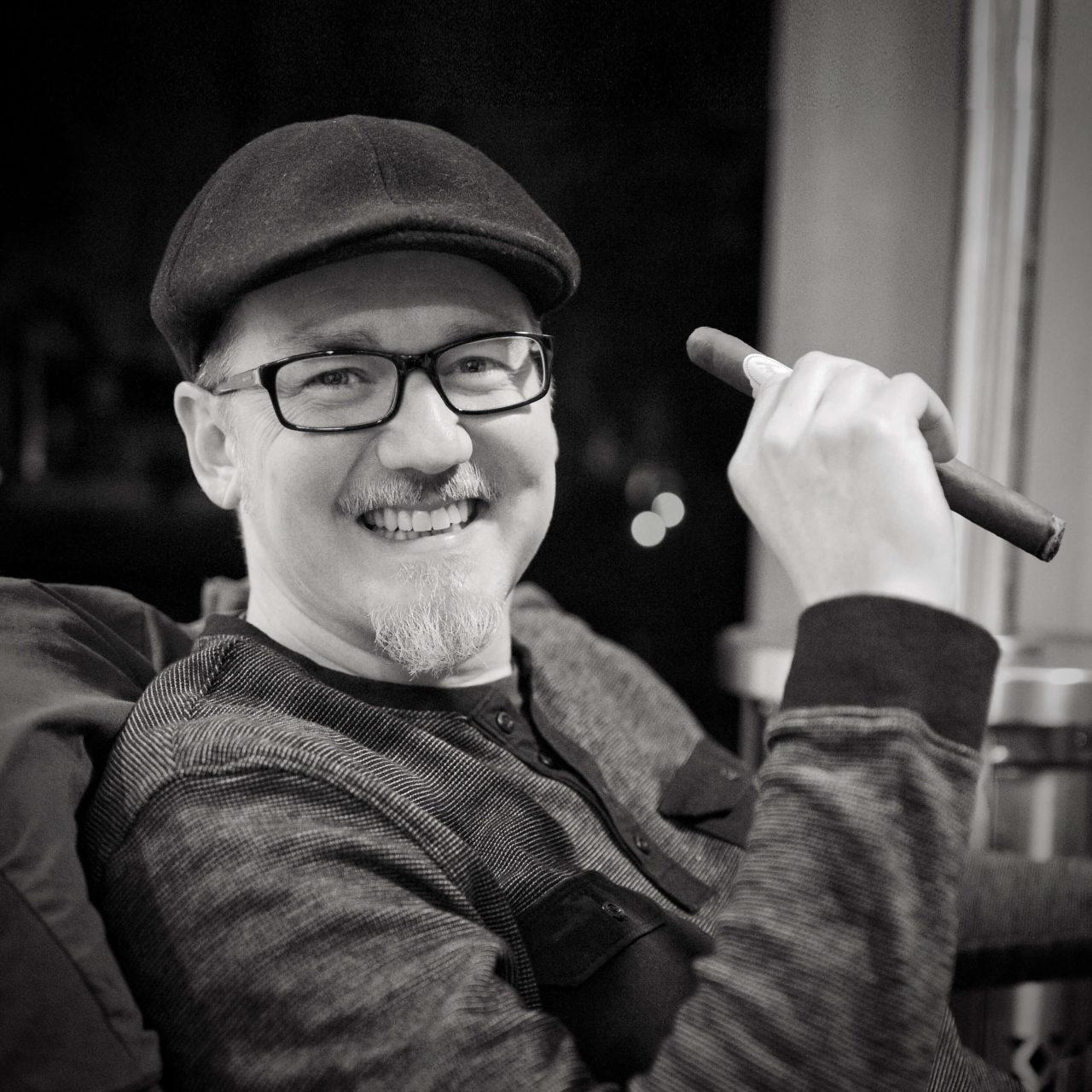 Shawn Hesketh enjoying a cigar